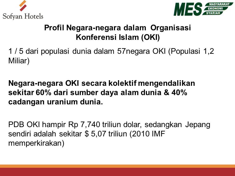 Profil Negara-negara dalam Organisasi Konferensi Islam (OKI) 1 / 5 dari populasi dunia dalam 57negara OKI (Populasi 1,2 Miliar) Negara-negara OKI secara kolektif mengendalikan sekitar 60% dari sumber daya alam dunia & 40% cadangan uranium dunia.