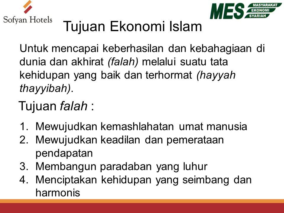 Tujuan Ekonomi Islam Untuk mencapai keberhasilan dan kebahagiaan di dunia dan akhirat (falah) melalui suatu tata kehidupan yang baik dan terhormat (hayyah thayyibah).
