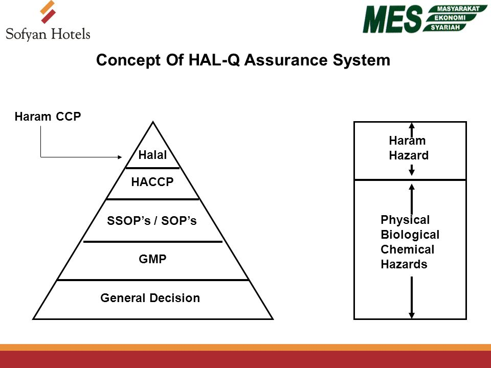 Concept Of HAL-Q Assurance System Halal HACCP SSOP's / SOP's GMP General Decision Haram CCP Haram Hazard Physical Biological Chemical Hazards