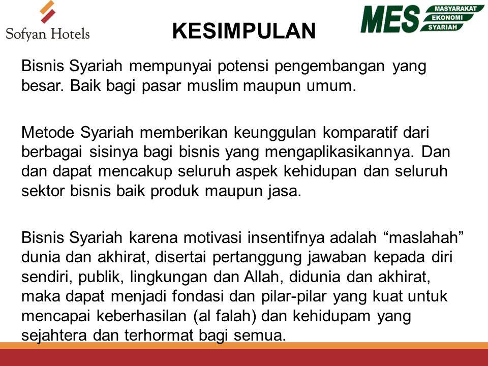KESIMPULAN Bisnis Syariah mempunyai potensi pengembangan yang besar.