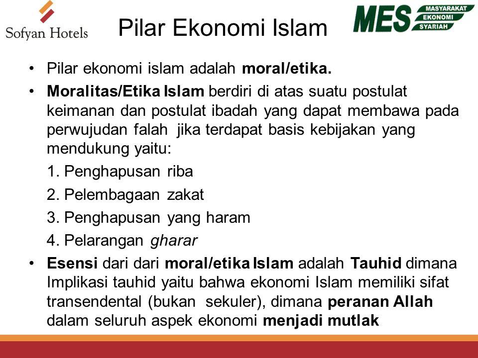 Pilar Ekonomi Islam Pilar ekonomi islam adalah moral/etika.