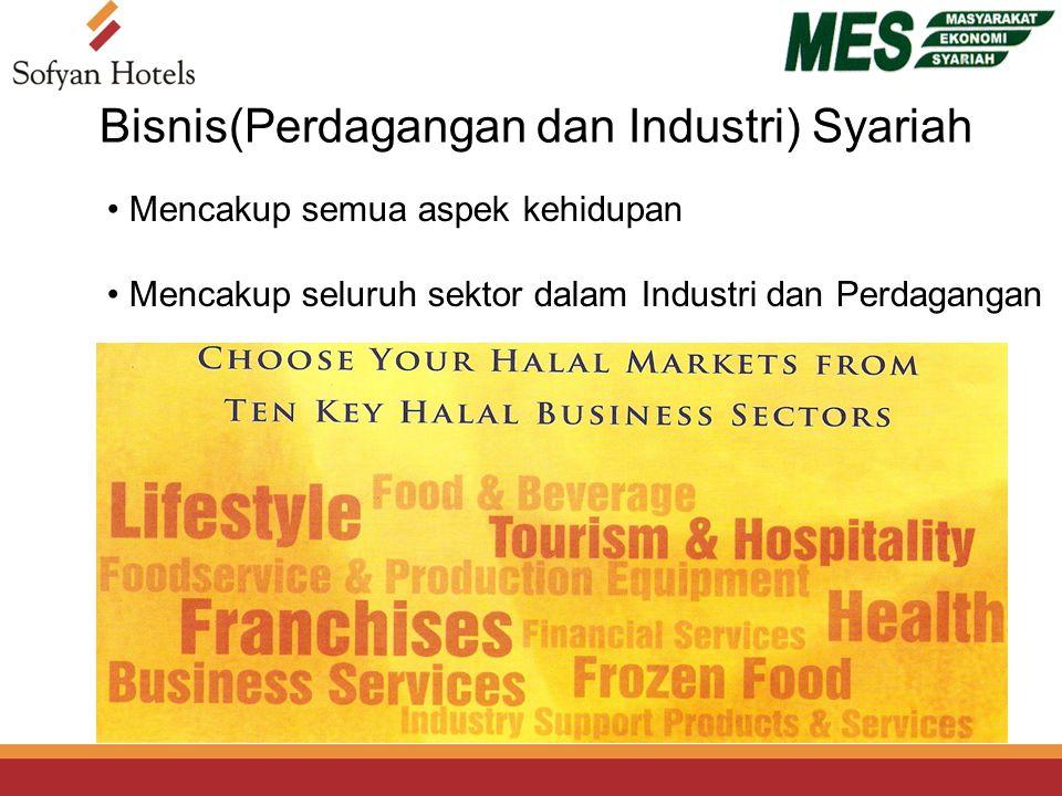 Mencakup semua aspek kehidupan Mencakup seluruh sektor dalam Industri dan Perdagangan Bisnis(Perdagangan dan Industri) Syariah