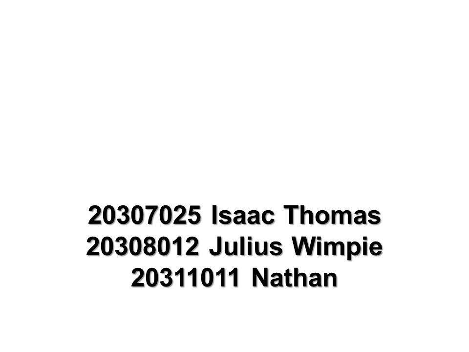 20307025 Isaac Thomas 20308012 Julius Wimpie 20311011 Nathan