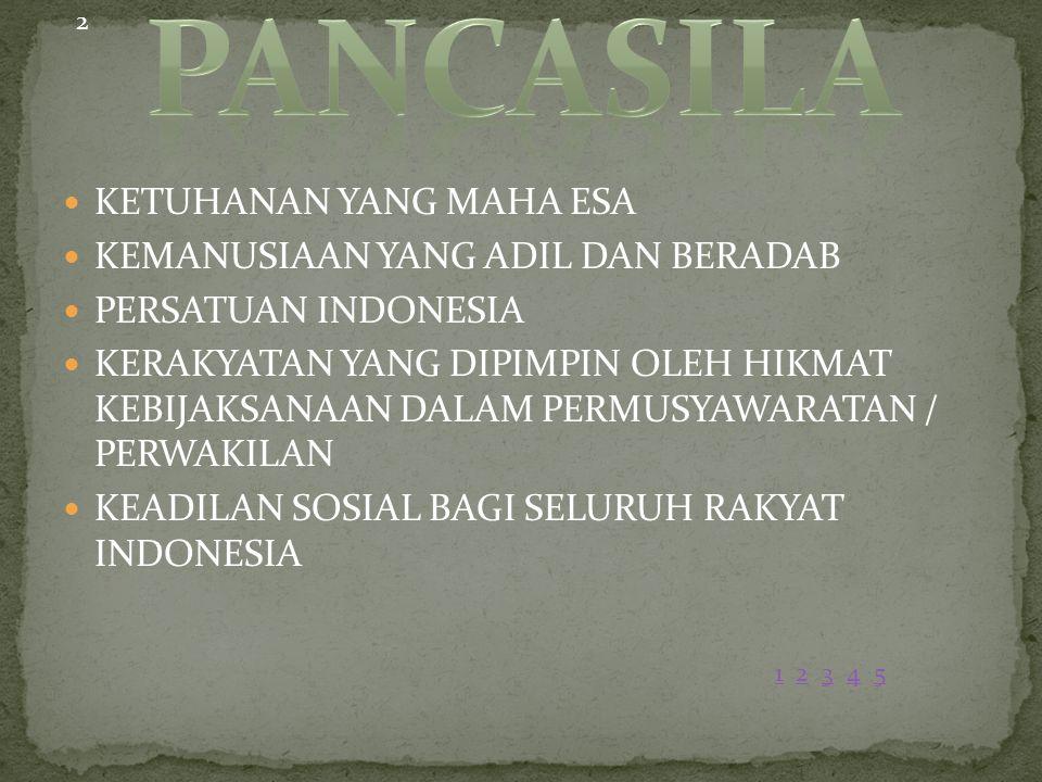 KETUHANAN YANG MAHA ESA KEMANUSIAAN YANG ADIL DAN BERADAB PERSATUAN INDONESIA KERAKYATAN YANG DIPIMPIN OLEH HIKMAT KEBIJAKSANAAN DALAM PERMUSYAWARATAN