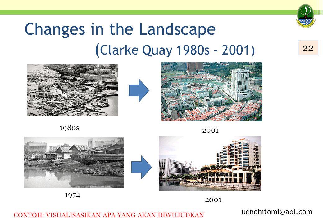 Changes in the Landscape ( Clarke Quay 1980s - 2001) 1980s 2001 1974 2001 uenohitomi@aol.com 22 CONTOH: VISUALISASIKAN APA YANG AKAN DIWUJUDKAN