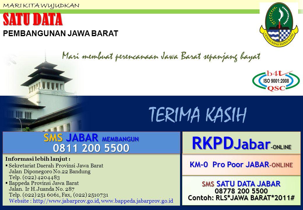 TERIMA KASIH MARI KITA WUJUDKAN SATU DATA PEMBANGUNAN JAWA BARAT Informasi lebih lanjut :  Sekretariat Daerah Provinsi Jawa Barat Jalan Diponegoro No