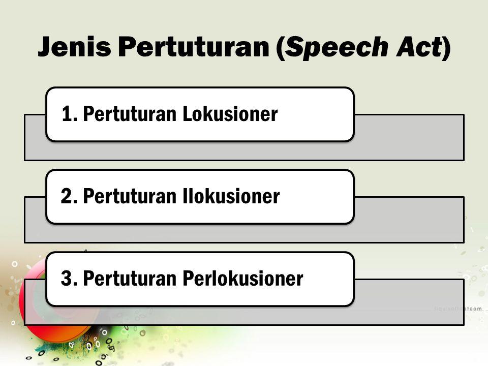 Jenis Pertuturan (Speech Act) 1. Pertuturan Lokusioner2. Pertuturan Ilokusioner3. Pertuturan Perlokusioner
