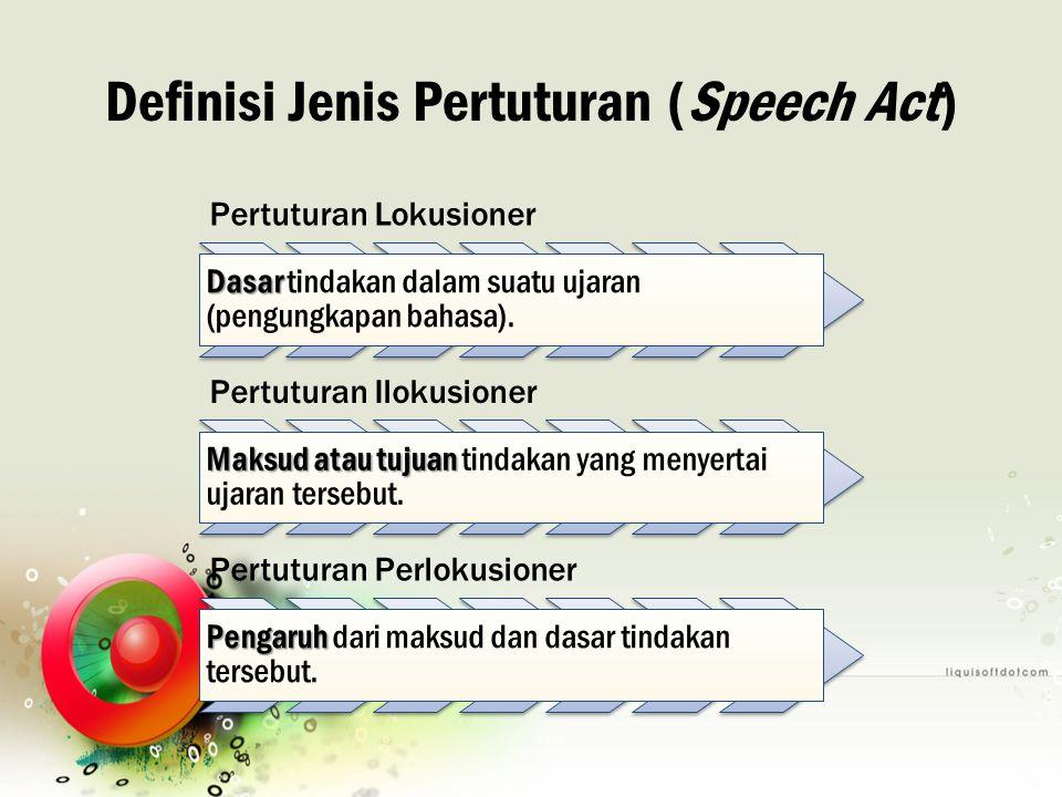 Definisi Jenis Pertuturan (Speech Act) Pertuturan Lokusioner Dasar Dasar tindakan dalam suatu ujaran (pengungkapan bahasa). Pertuturan Ilokusioner Mak