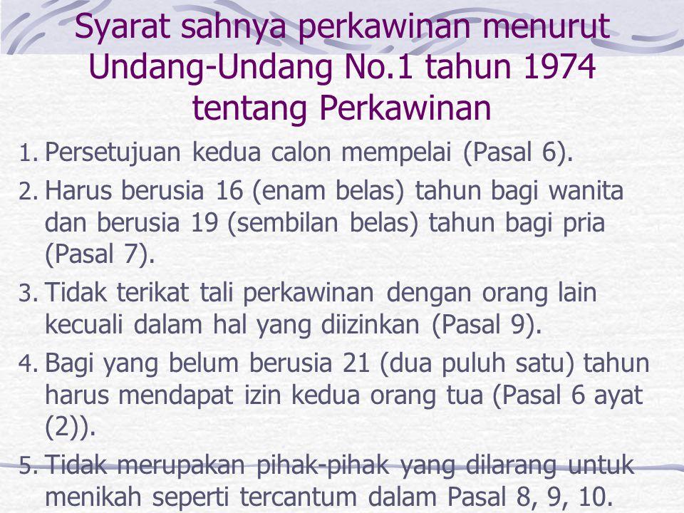 Syarat sahnya perkawinan menurut Undang-Undang No.1 tahun 1974 tentang Perkawinan 1.