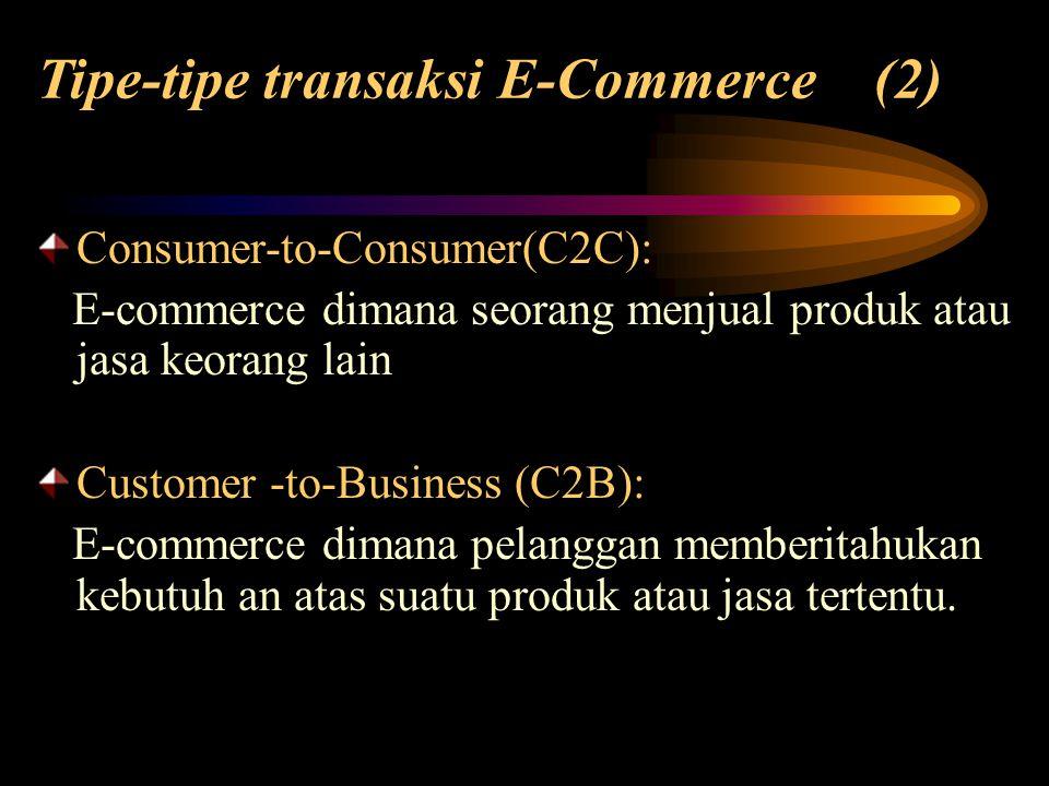 Consumer-to-Consumer(C2C): E-commerce dimana seorang menjual produk atau jasa keorang lain Customer -to-Business (C2B): E-commerce dimana pelanggan me