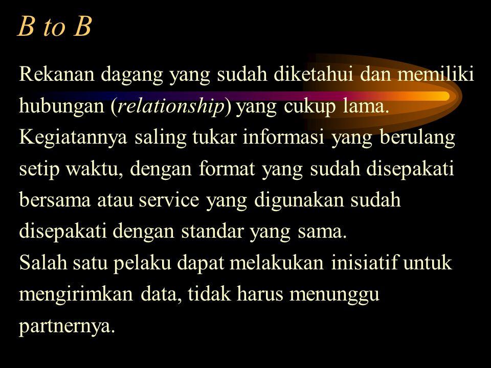 B to B Rekanan dagang yang sudah diketahui dan memiliki hubungan (relationship) yang cukup lama. Kegiatannya saling tukar informasi yang berulang seti
