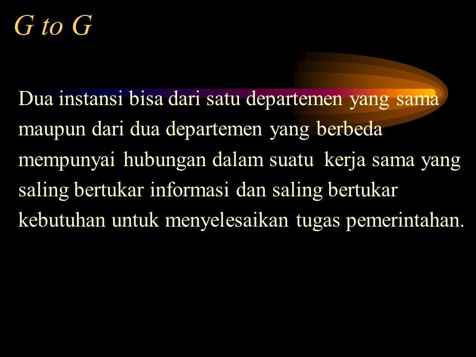 G to G Dua instansi bisa dari satu departemen yang sama maupun dari dua departemen yang berbeda mempunyai hubungan dalam suatu kerja sama yang saling