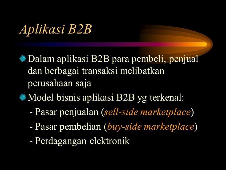 Dalam aplikasi B2B para pembeli, penjual dan berbagai transaksi melibatkan perusahaan saja Model bisnis aplikasi B2B yg terkenal: - Pasar penjualan (s