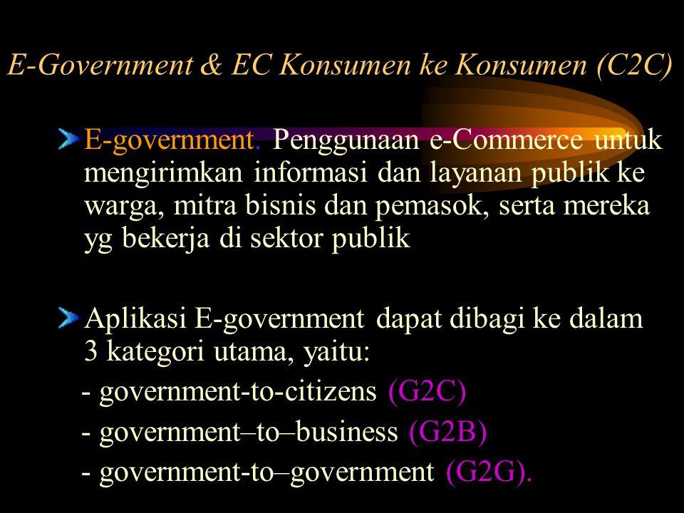 E-government. Penggunaan e-Commerce untuk mengirimkan informasi dan layanan publik ke warga, mitra bisnis dan pemasok, serta mereka yg bekerja di sekt