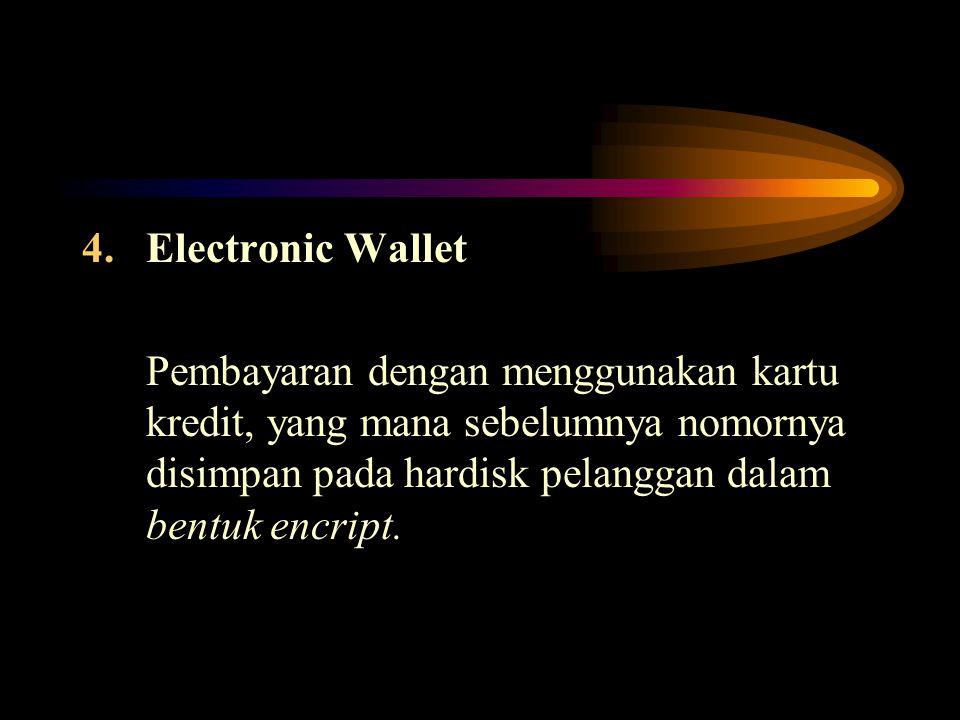 4.Electronic Wallet Pembayaran dengan menggunakan kartu kredit, yang mana sebelumnya nomornya disimpan pada hardisk pelanggan dalam bentuk encript.