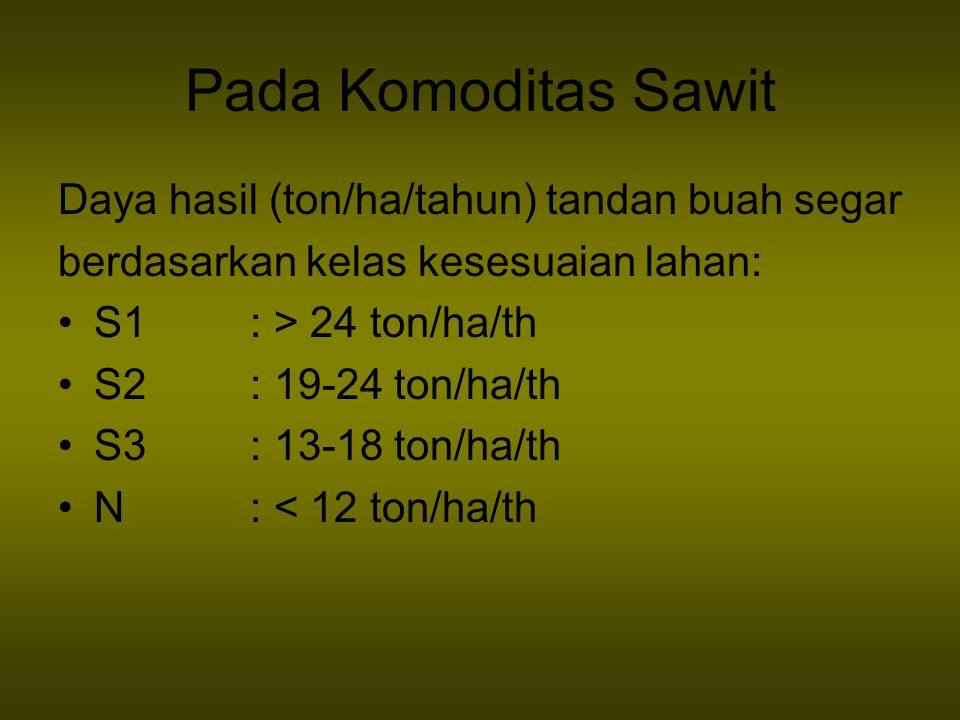 Pada Komoditas Sawit Daya hasil (ton/ha/tahun) tandan buah segar berdasarkan kelas kesesuaian lahan: S1 : > 24 ton/ha/th S2 : 19-24 ton/ha/th S3 : 13-