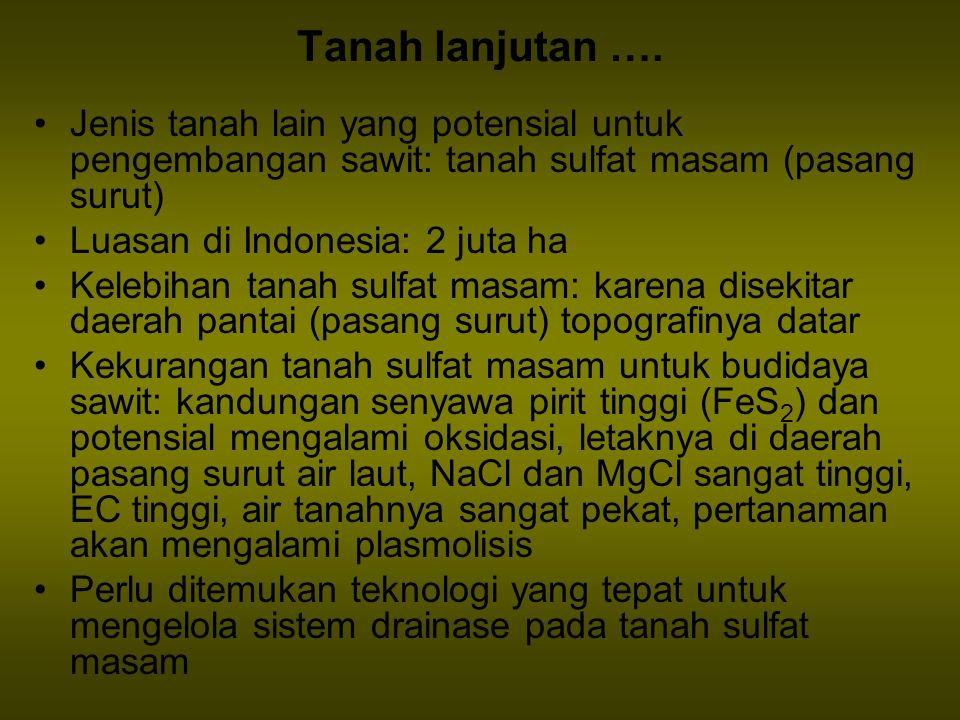 Tanah lanjutan …. Jenis tanah lain yang potensial untuk pengembangan sawit: tanah sulfat masam (pasang surut) Luasan di Indonesia: 2 juta ha Kelebihan