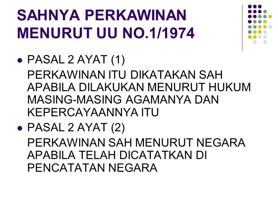 SAHNYA PERKAWINAN MENURUT UU NO.1/1974 PASAL 2 AYAT (1) PERKAWINAN ITU DIKATAKAN SAH APABILA DILAKUKAN MENURUT HUKUM MASING-MASING AGAMANYA DAN KEPERC