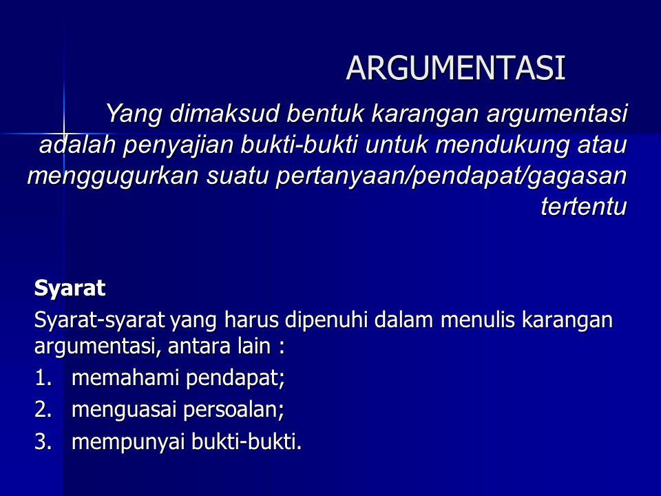 ARGUMENTASI Syarat Syarat-syarat yang harus dipenuhi dalam menulis karangan argumentasi, antara lain : 1.memahami pendapat; 2.menguasai persoalan; 3.m