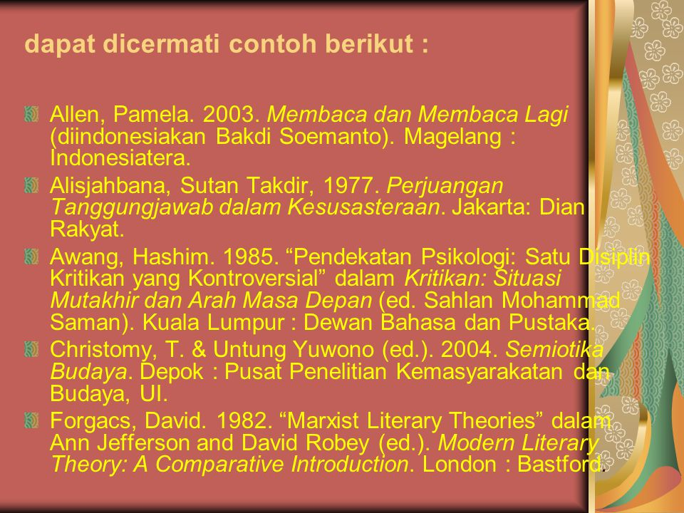 dapat dicermati contoh berikut : Allen, Pamela. 2003. Membaca dan Membaca Lagi (diindonesiakan Bakdi Soemanto). Magelang : Indonesiatera. Alisjahbana,