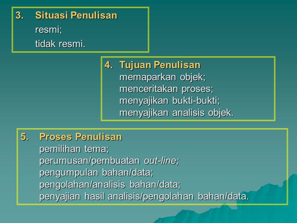  Situasi Penulisan resmi; tidak resmi. 4.Tujuan Penulisan memaparkan objek; menceritakan proses; menyajikan bukti-bukti; menyajikan analisis objek.