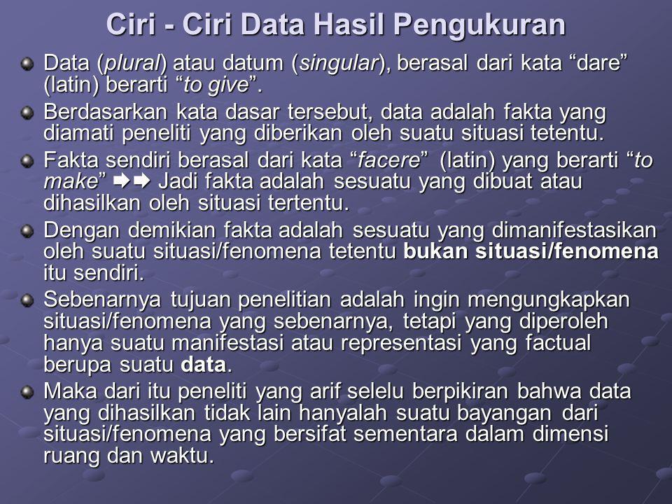 """Ciri - Ciri Data Hasil Pengukuran Data (plural) atau datum (singular), berasal dari kata """"dare"""" (latin) berarti """"to give"""". Berdasarkan kata dasar ters"""