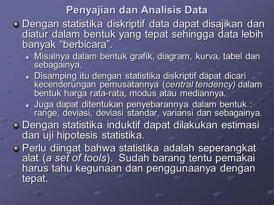"""Penyajian dan Analisis Data Dengan statistika diskriptif data dapat disajikan dan diatur dalam bentuk yang tepat sehingga data lebih banyak """"berbicara"""