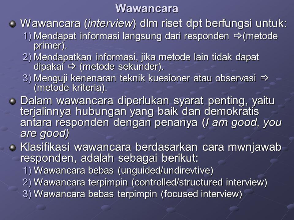 Wawancara Wawancara (interview) dlm riset dpt berfungsi untuk: 1)Mendapat informasi langsung dari responden  (metode primer). 2)Mendapatkan informasi