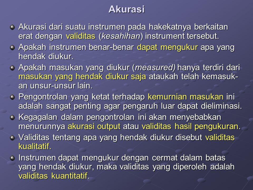 Akurasi Akurasi dari suatu instrumen pada hakekatnya berkaitan erat dengan validitas (kesahihan) instrument tersebut. Apakah instrumen benar-benar dap