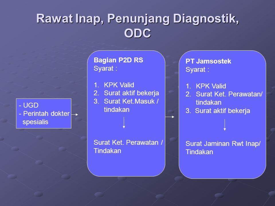 Rawat Inap, Penunjang Diagnostik, ODC - UGD - Perintah dokter spesialis Bagian P2D RS Syarat : 1.KPK Valid 2.Surat aktif bekerja 3.Surat Ket.Masuk / t