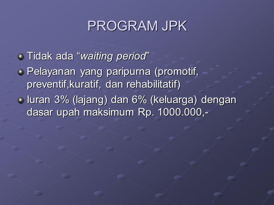 "PROGRAM JPK Tidak ada ""waiting period"" Pelayanan yang paripurna (promotif, preventif,kuratif, dan rehabilitatif) Iuran 3% (lajang) dan 6% (keluarga) d"
