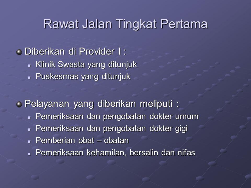 Rawat Jalan Tingkat Pertama Diberikan di Provider I : Klinik Swasta yang ditunjuk Klinik Swasta yang ditunjuk Puskesmas yang ditunjuk Puskesmas yang d