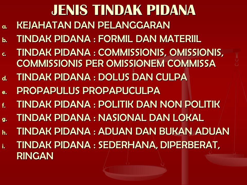 JENIS TINDAK PIDANA a. KEJAHATAN DAN PELANGGARAN b. TINDAK PIDANA : FORMIL DAN MATERIIL c. TINDAK PIDANA : COMMISSIONIS, OMISSIONIS, COMMISSIONIS PER