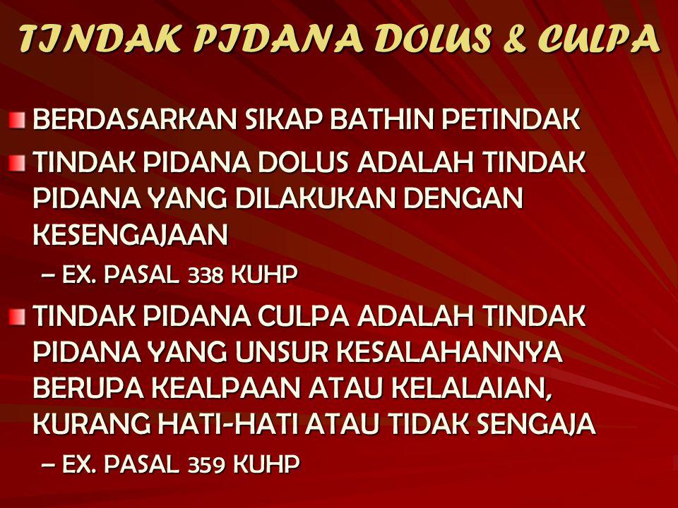 TINDAK PIDANA DOLUS & CULPA BERDASARKAN SIKAP BATHIN PETINDAK TINDAK PIDANA DOLUS ADALAH TINDAK PIDANA YANG DILAKUKAN DENGAN KESENGAJAAN –EX. PASAL 33