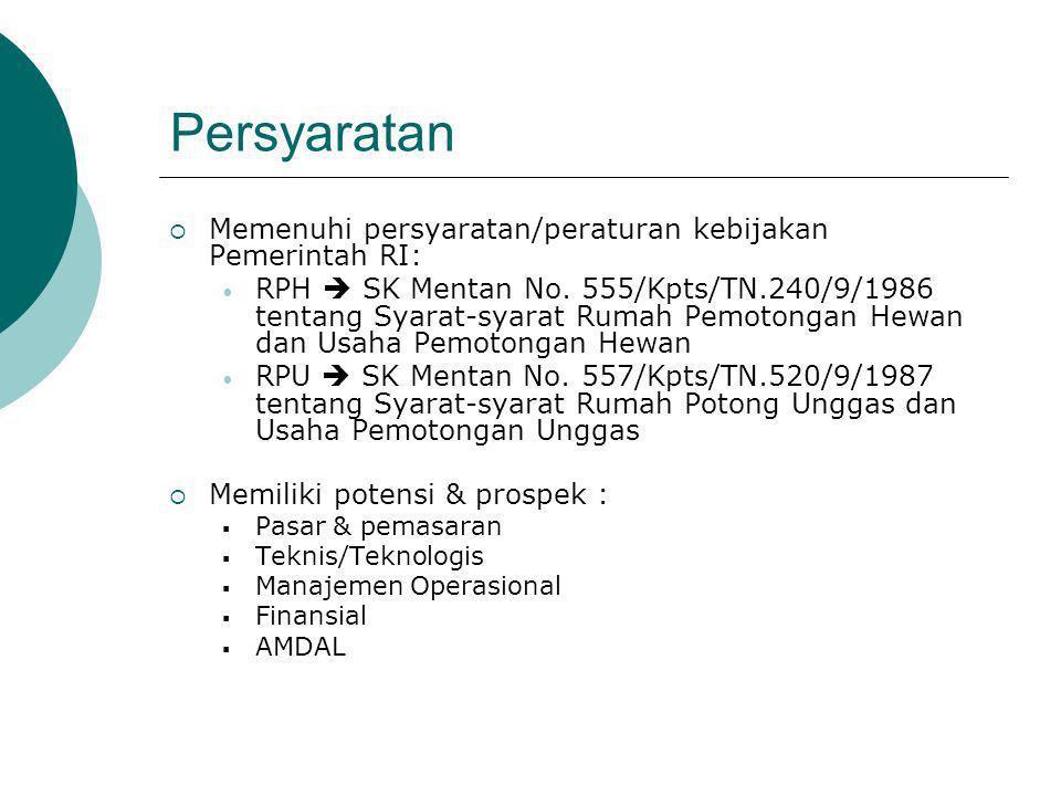 Persyaratan  Memenuhi persyaratan/peraturan kebijakan Pemerintah RI: RPH  SK Mentan No.