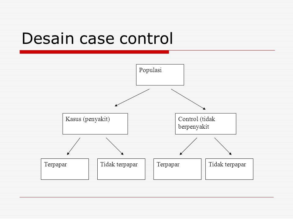Kriteria pemilihan kasus  Kriteria diagnosis (kriteria kasus dan definisi operasional harus dibuat sejelas-jelasnya)  Populasi sumber kasus (kasus dapat bersumber dari rumah sakit dan komunitas)  Jenis data penyakit (kasus merupakan insidensi atau prevalensi)