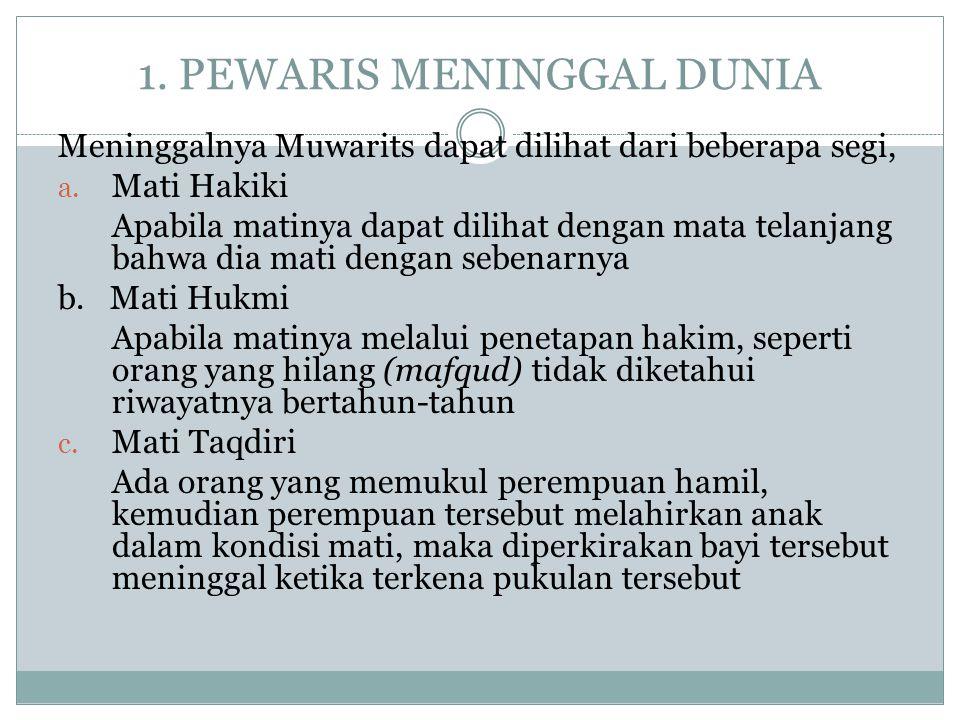 1.PEWARIS MENINGGAL DUNIA Meninggalnya Muwarits dapat dilihat dari beberapa segi, a.