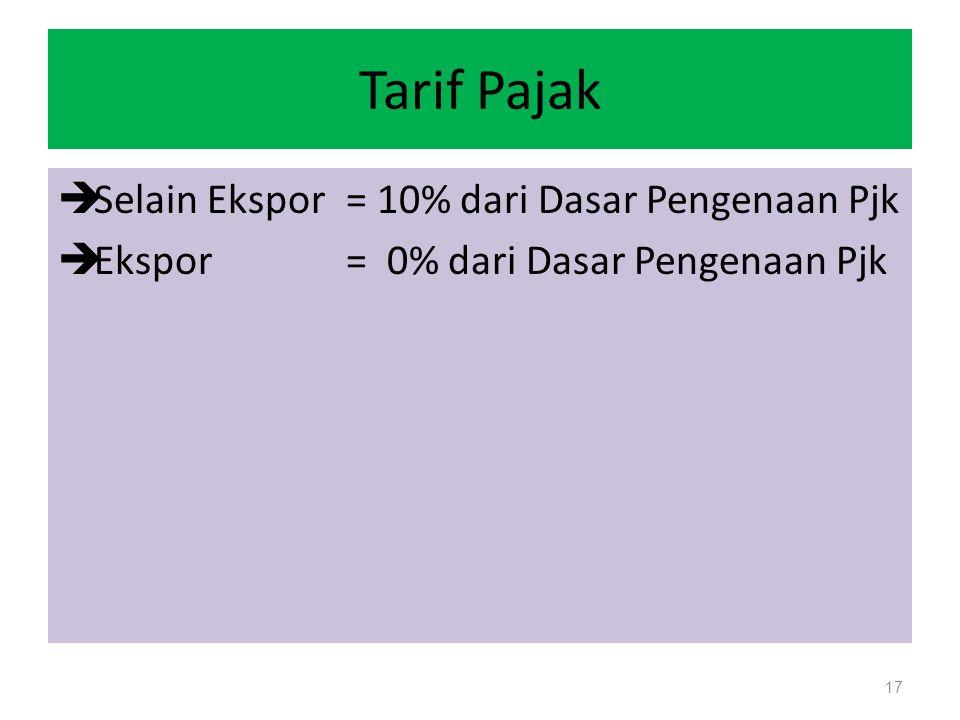 Tarif Pajak  Selain Ekspor= 10% dari Dasar Pengenaan Pjk  Ekspor= 0% dari Dasar Pengenaan Pjk 17