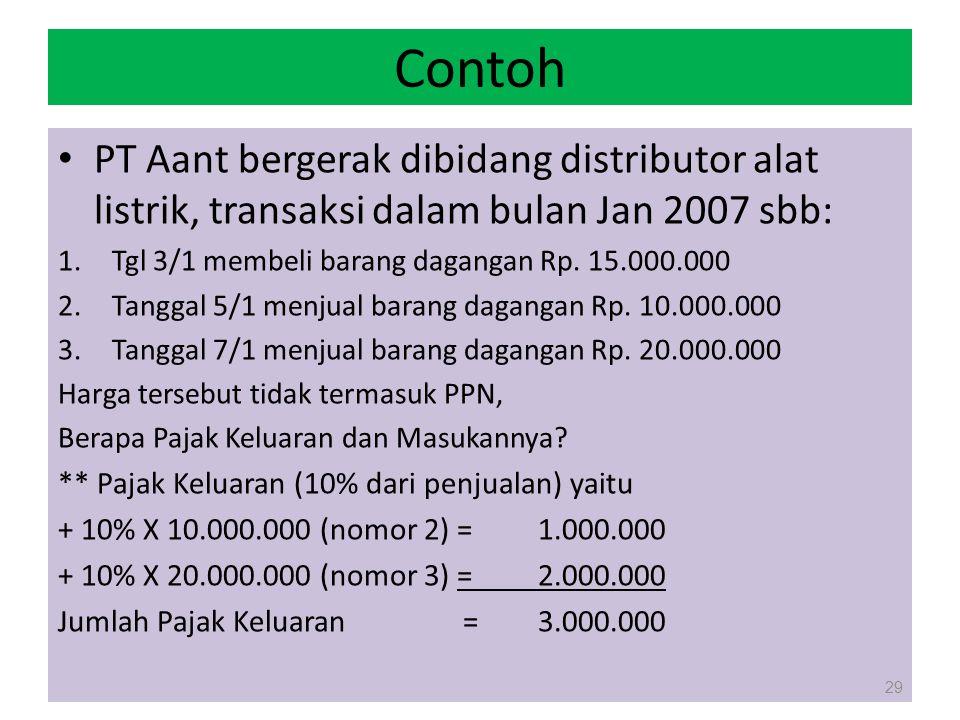 Contoh PT Aant bergerak dibidang distributor alat listrik, transaksi dalam bulan Jan 2007 sbb: 1.Tgl 3/1 membeli barang dagangan Rp. 15.000.000 2.Tang