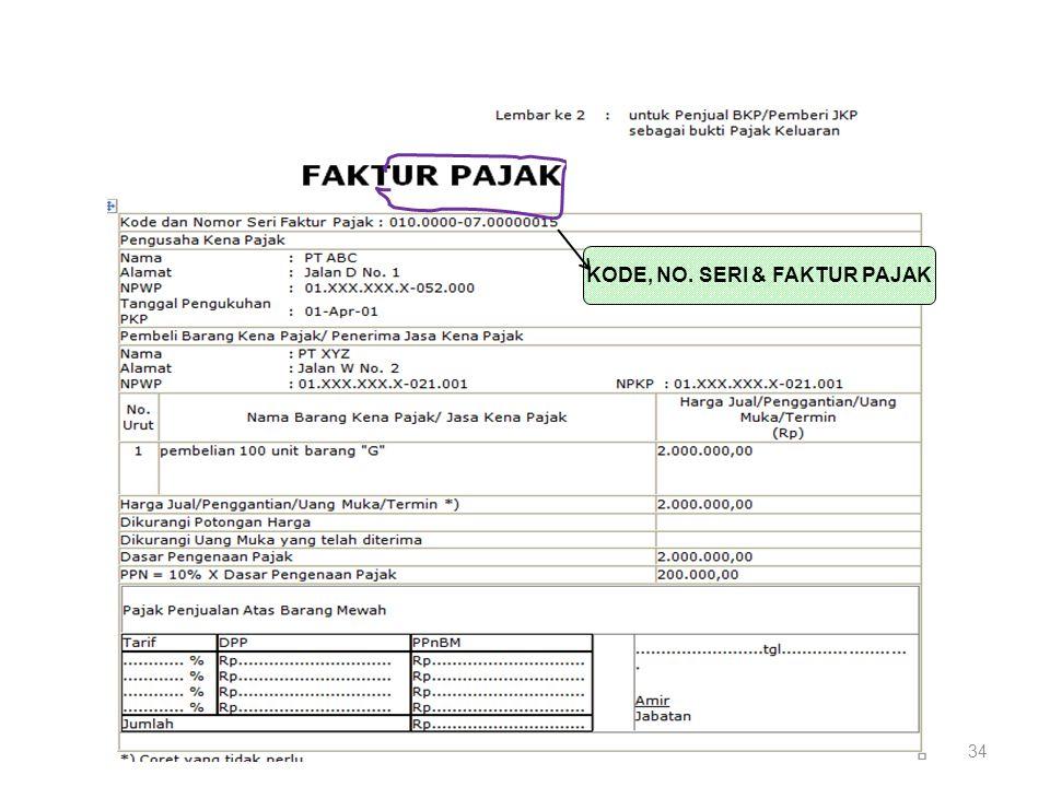 KODE, NO. SERI & FAKTUR PAJAK 34