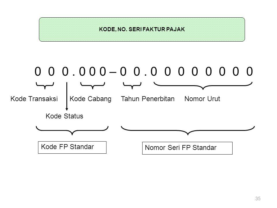0 0 0. 0 0 0 – 0 0. 0 0 0 0 0 0 0 0 KODE DAN NOMOR SERI FAKTUR PAJAK STANDAR Kode Transaksi Kode Status Tahun PenerbitanNomor Urut Nomor Seri FP Stand