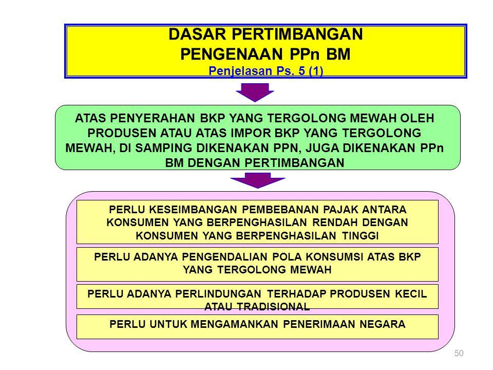 DASAR PERTIMBANGAN PENGENAAN PPn BM Penjelasan Ps. 5 (1) ATAS PENYERAHAN BKP YANG TERGOLONG MEWAH OLEH PRODUSEN ATAU ATAS IMPOR BKP YANG TERGOLONG MEW