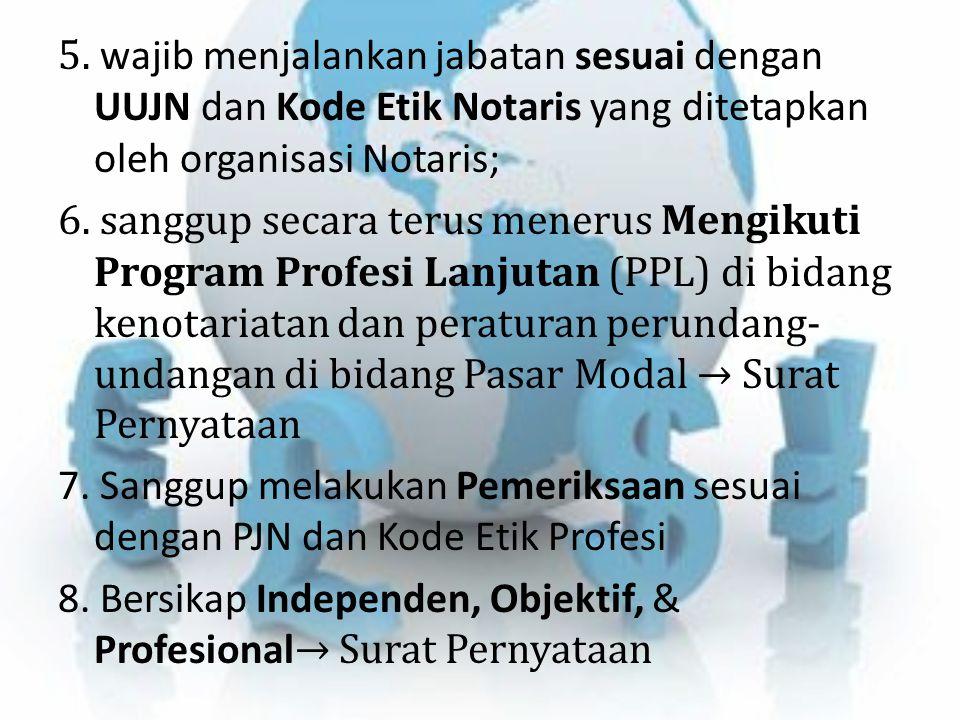 5. wajib menjalankan jabatan sesuai dengan UUJN dan Kode Etik Notaris yang ditetapkan oleh organisasi Notaris; 6. sanggup secara terus menerus Mengiku