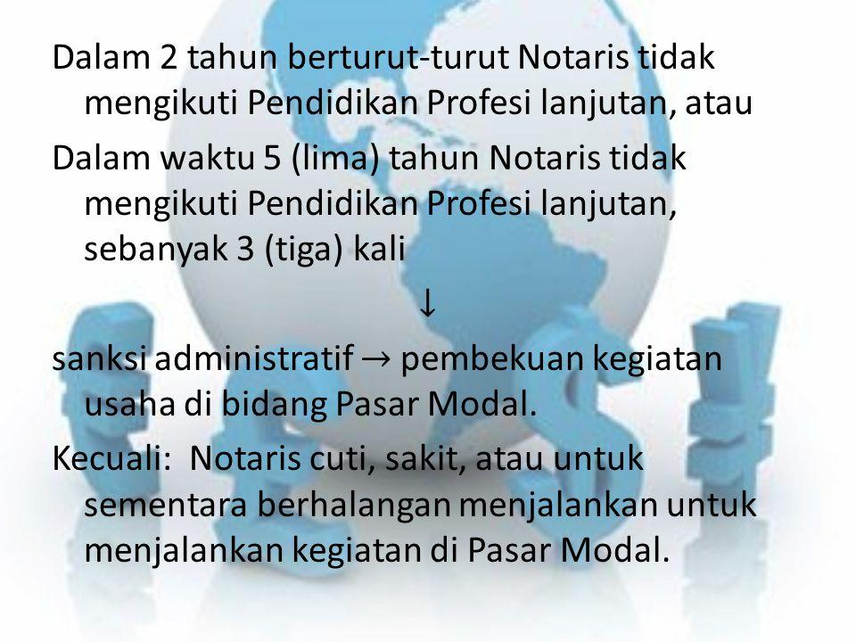 Dalam 2 tahun berturut-turut Notaris tidak mengikuti Pendidikan Profesi lanjutan, atau Dalam waktu 5 (lima) tahun Notaris tidak mengikuti Pendidikan P