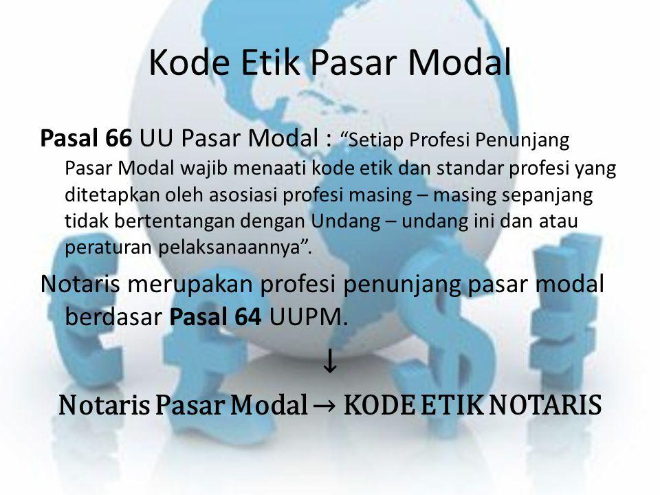 """Kode Etik Pasar Modal Pasal 66 UU Pasar Modal : """"Setiap Profesi Penunjang Pasar Modal wajib menaati kode etik dan standar profesi yang ditetapkan oleh"""