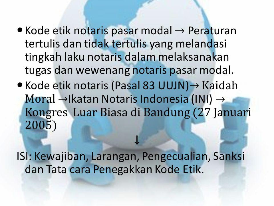 Kode etik notaris pasar modal → Peraturan tertulis dan tidak tertulis yang melandasi tingkah laku notaris dalam melaksanakan tugas dan wewenang notari