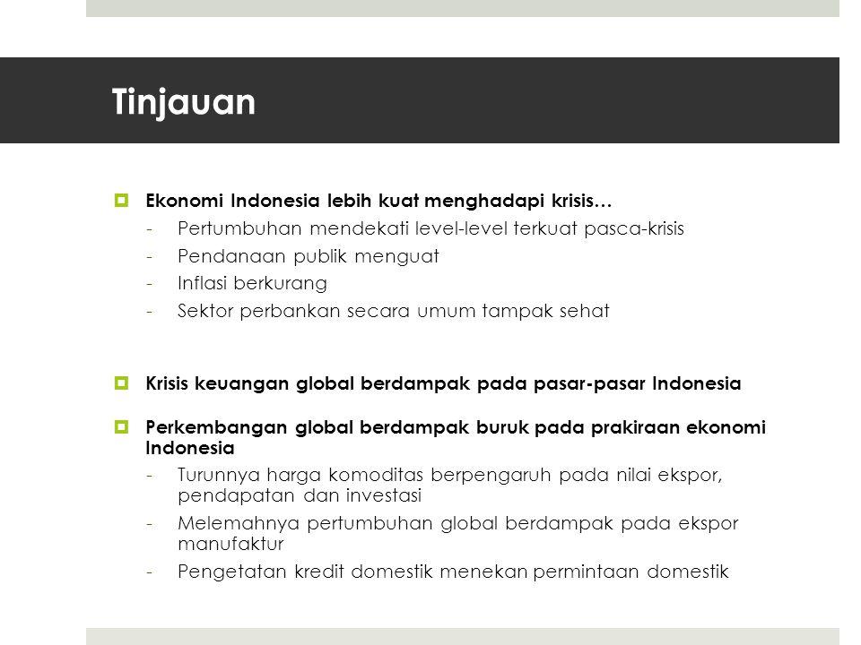 Tinjauan  Ekonomi Indonesia lebih kuat menghadapi krisis… -Pertumbuhan mendekati level-level terkuat pasca-krisis -Pendanaan publik menguat -Inflasi berkurang -Sektor perbankan secara umum tampak sehat  Krisis keuangan global berdampak pada pasar-pasar Indonesia  Perkembangan global berdampak buruk pada prakiraan ekonomi Indonesia -Turunnya harga komoditas berpengaruh pada nilai ekspor, pendapatan dan investasi -Melemahnya pertumbuhan global berdampak pada ekspor manufaktur -Pengetatan kredit domestik menekan permintaan domestik