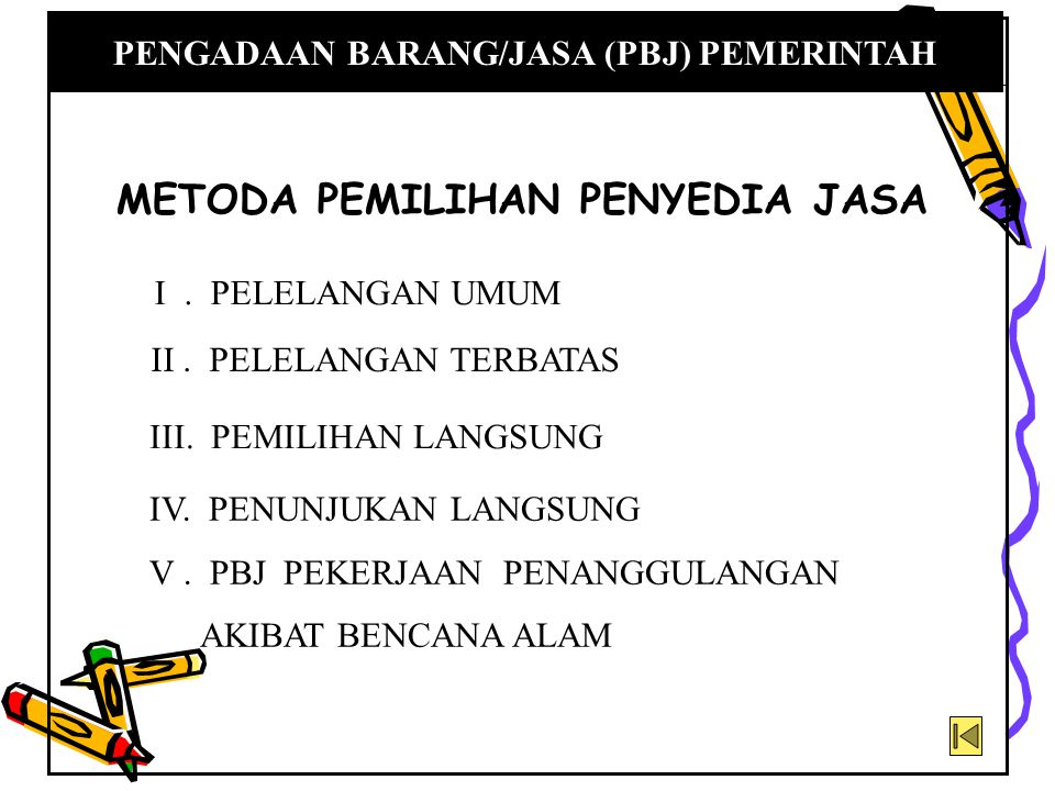 1.Segmen pasar dan kualifikasi 2.Jadual waktu pelaksanaan pelelangan umum 3.Syarat peserta lelang 4.Isi pengumuman 5.Prakualifikasi dan Pascakualifikasi 6.Undangan dan penjelasan lelang 7.Pembukaan dokumen penawaran 8.Evaluasi umum ( umum ) 9.Evaluasi administrasi 10.Evaluasi teknis 11.Evaluasi harga 12.BA Pelelangan, penetapan pemenang, pengumuman pemenang, sanggahan dan pengaduan, penunjukan pemenang, dan tanda tangan kontrak 13.Pelelangan gagal dan pelelangan ulang I.