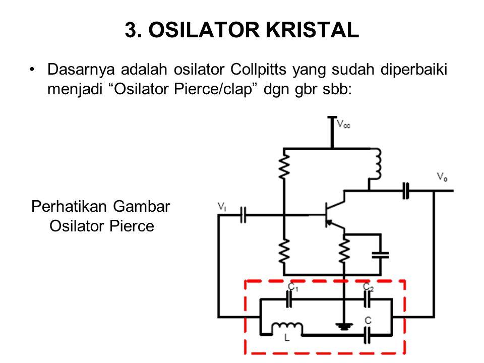 "3. OSILATOR KRISTAL Dasarnya adalah osilator Collpitts yang sudah diperbaiki menjadi ""Osilator Pierce/clap"" dgn gbr sbb: Perhatikan Gambar Osilator Pi"
