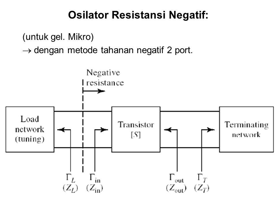 Osilator Resistansi Negatif: (untuk gel. Mikro)  dengan metode tahanan negatif 2 port.